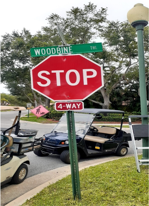 new Woodbine Trail Stop Sign